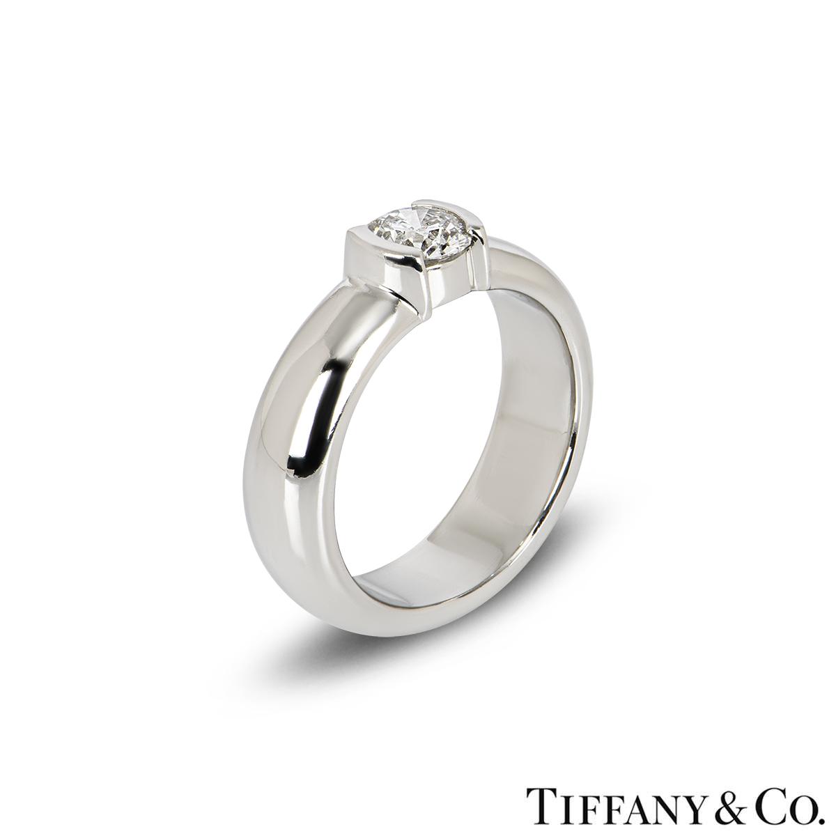 Tiffany & Co. Diamond Etoile Platinum Ring 0.50ct F/VS1